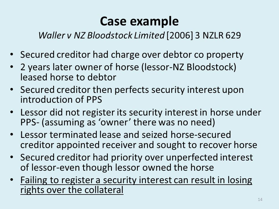 Case example Waller v NZ Bloodstock Limited [2006] 3 NZLR 629